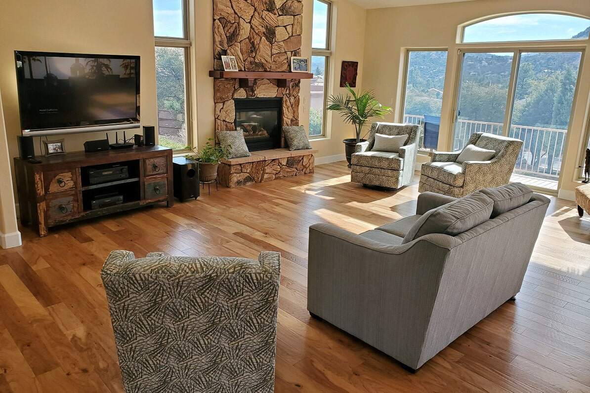 Natural hardwood in beautiful living space in Prescott Valley, AZ