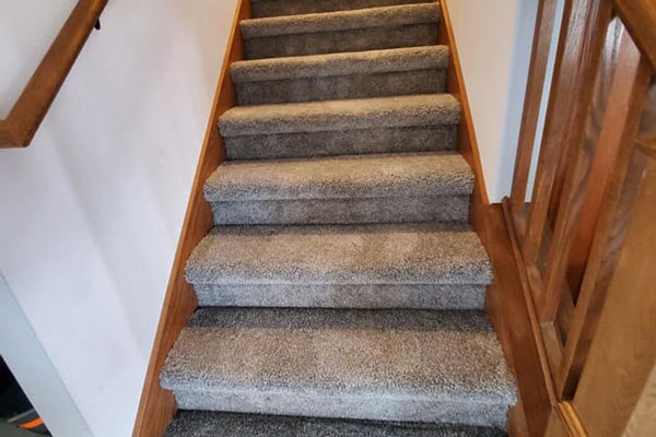 Carpeted stairs from Affordable Flooring in Bourbonnais, IL
