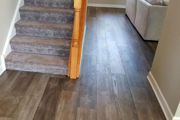 Carpet stairs and wood floors from Affordable Flooring in Bradley, IL