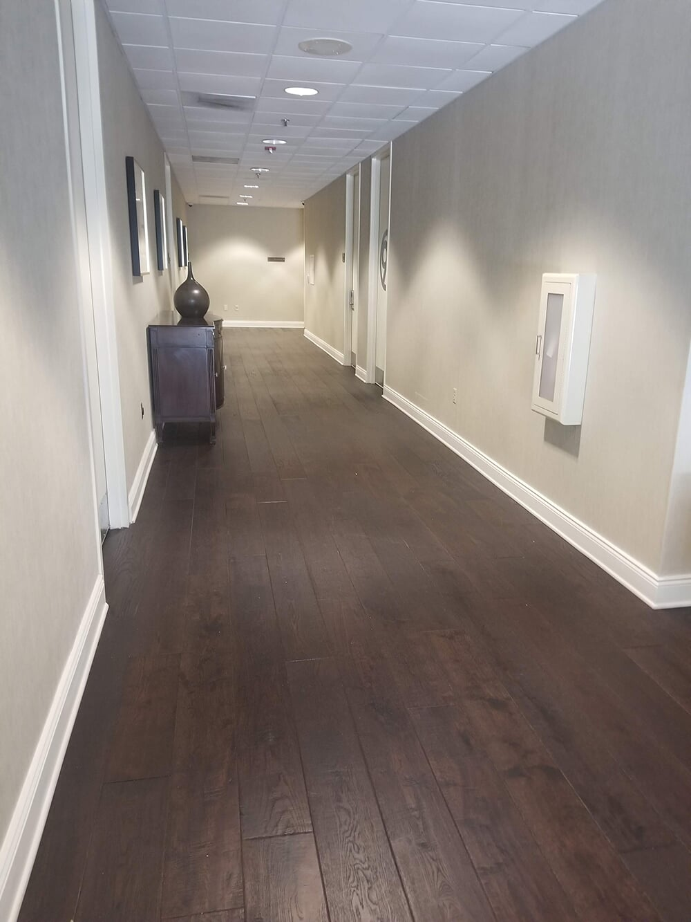 Hallway flooring installation in Spindale, NC from BPS Southeast