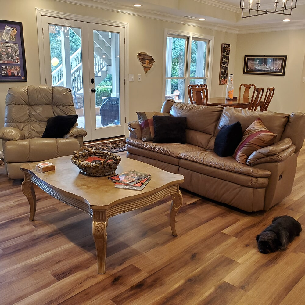 Modern living room flooring in Lake Lure, NC from BPS Southeast