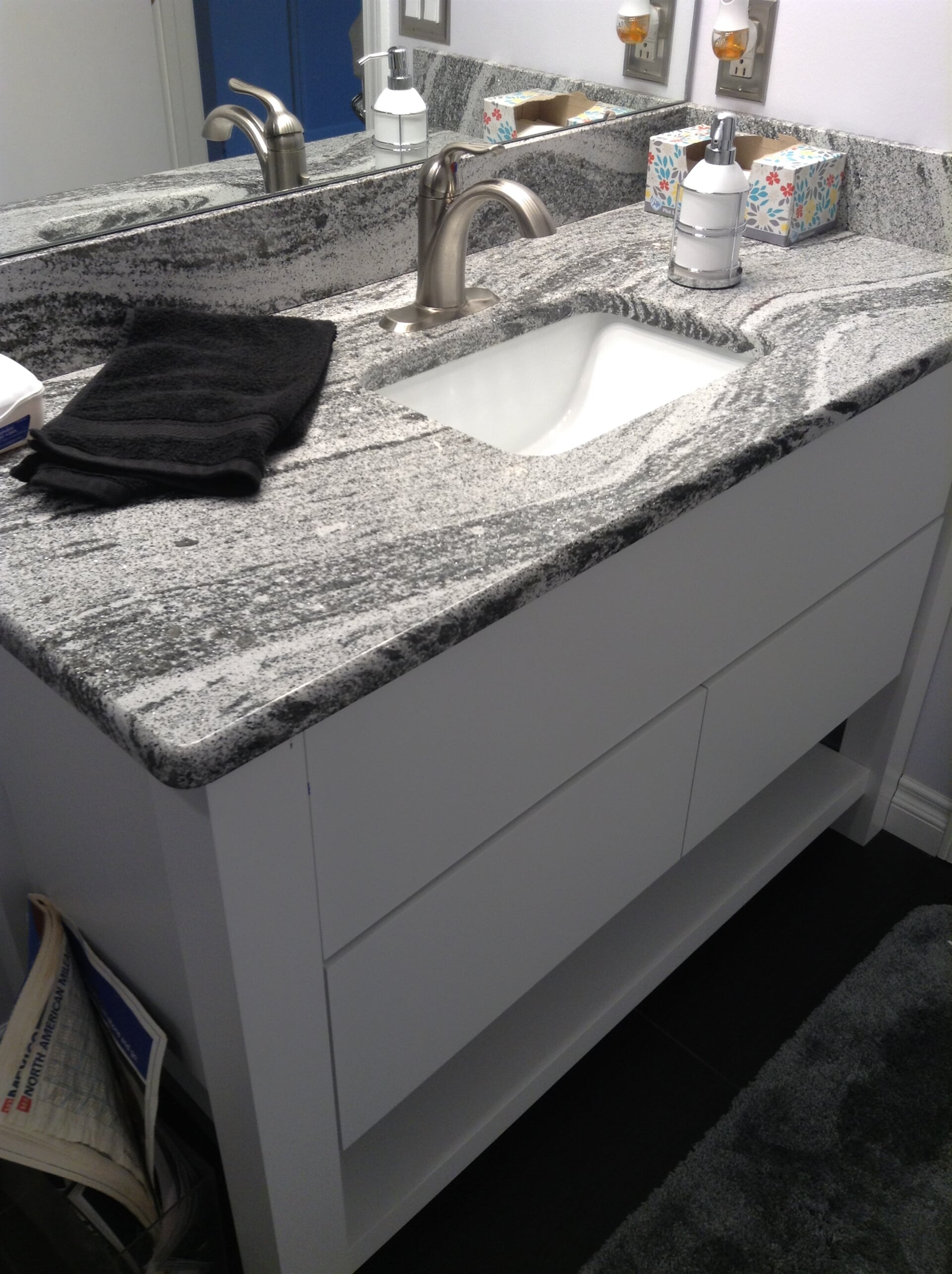 Bathroom remodel with granite countertop in Dundee, MI