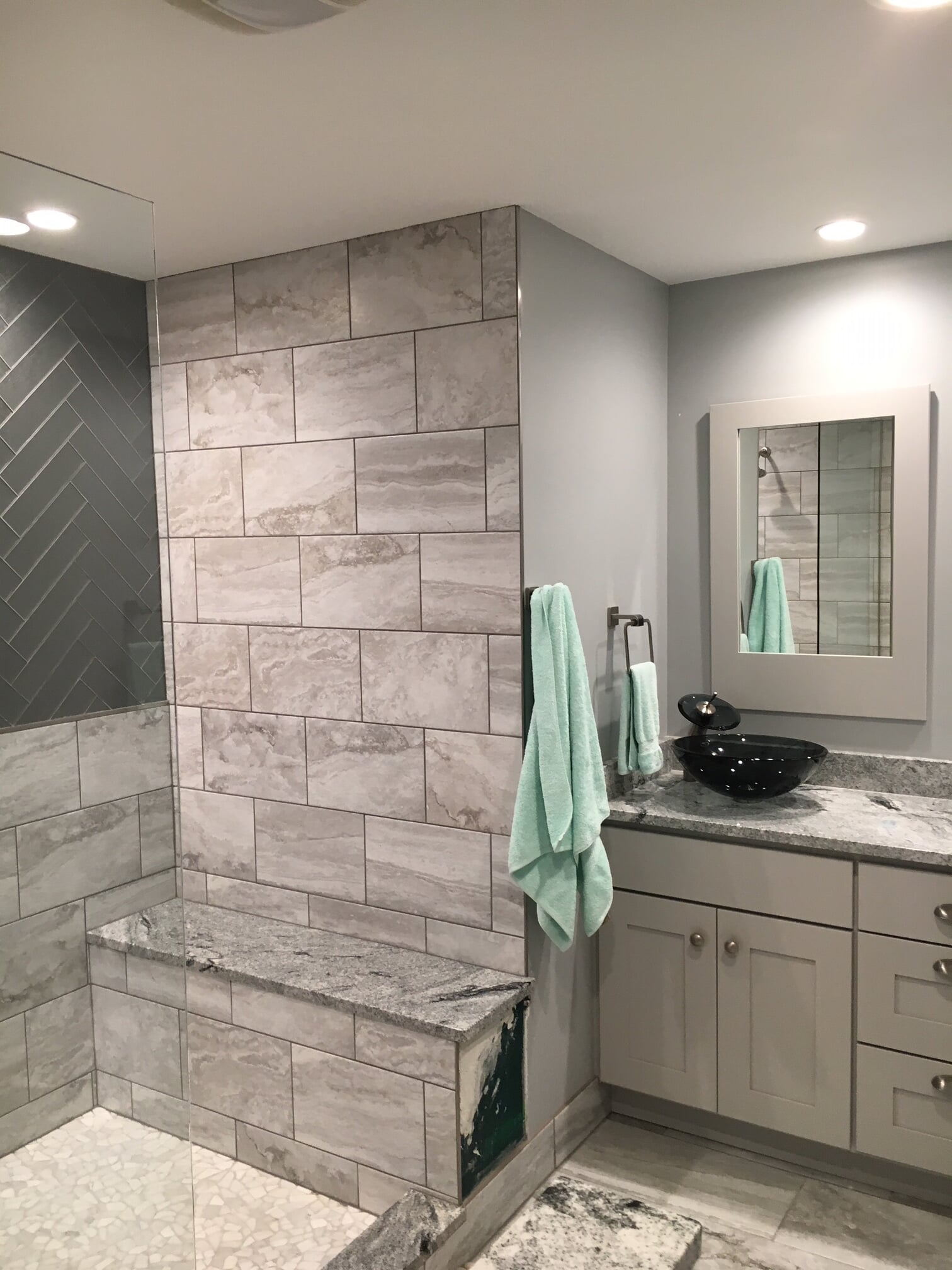 Natural stone bathroom remodel from Finishers Unlimited in Monroe, MI
