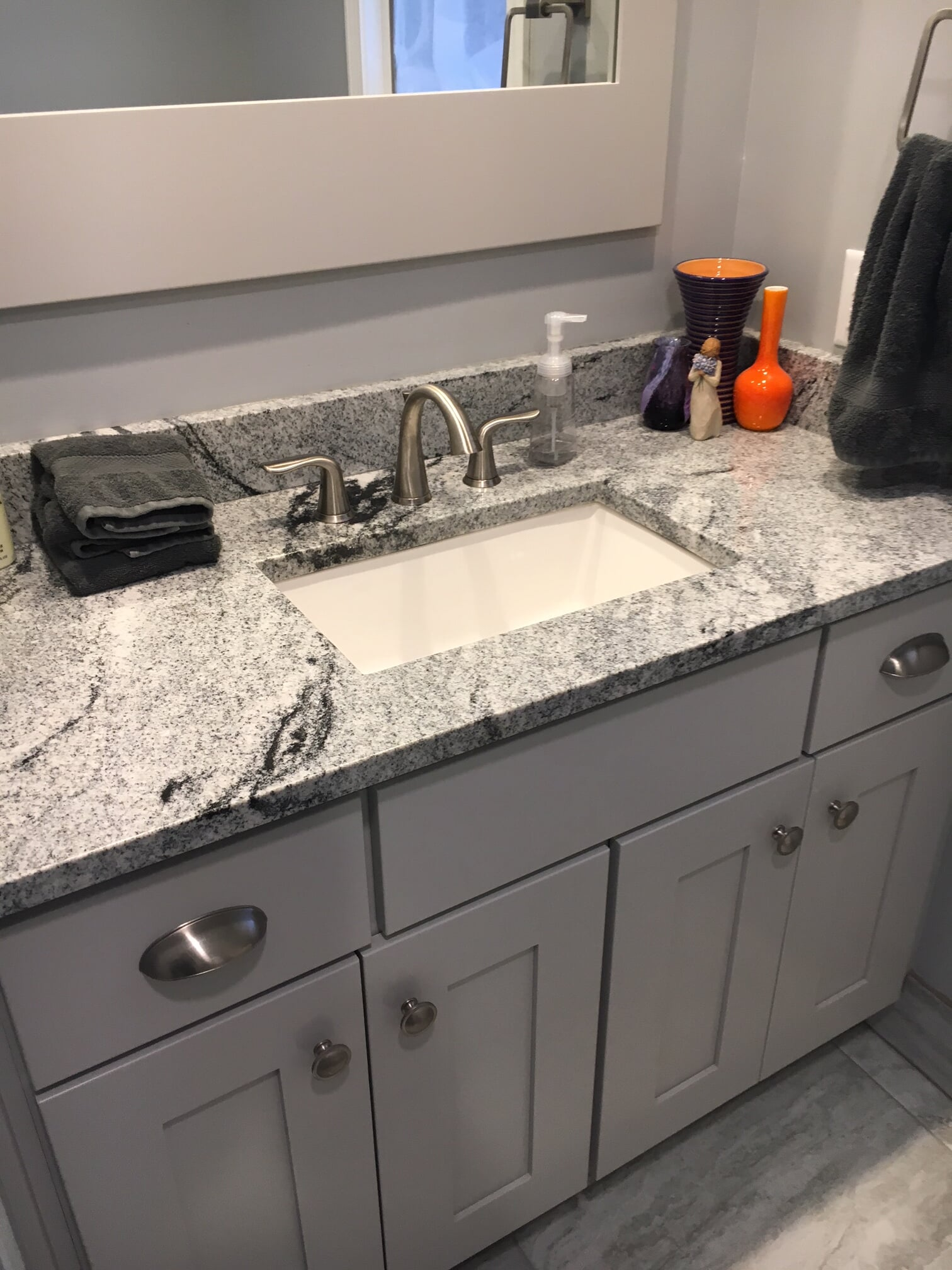 Gorgeous black and white bathroom countertop in Flat Rock, MI