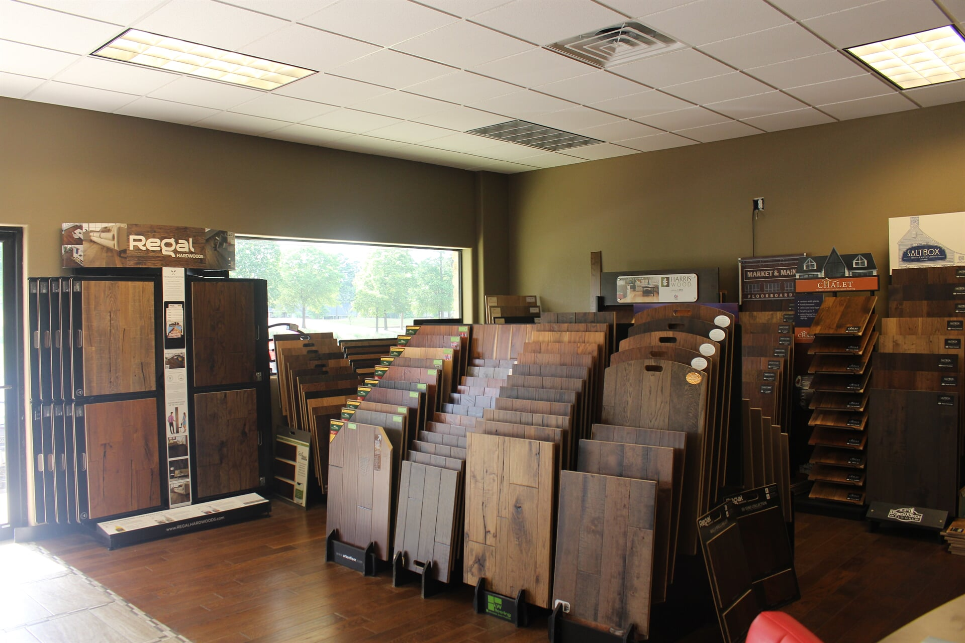 Hardwood options in our showroom including Regal and Harris Wood