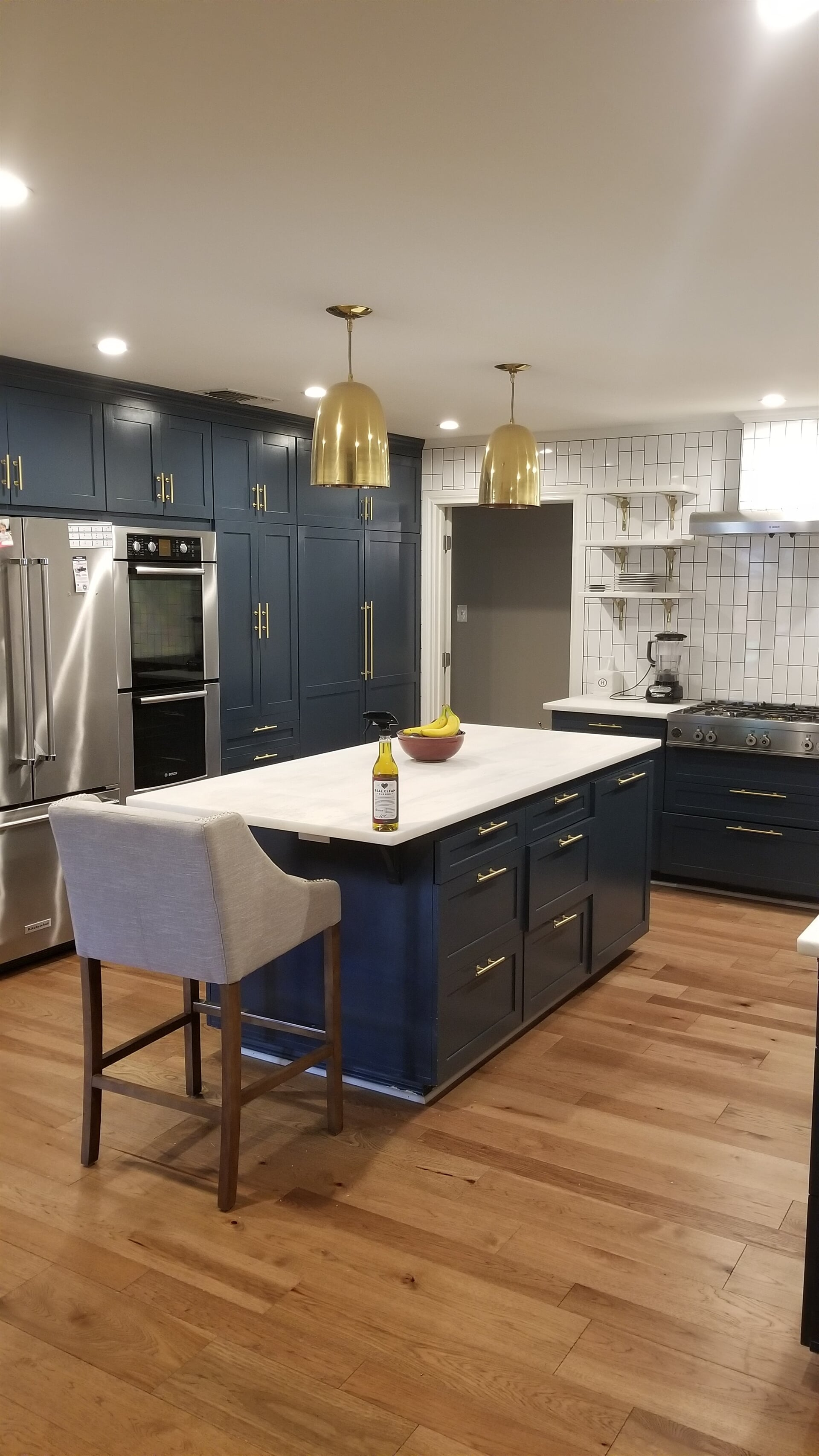 Modern kitchen with beautiful blue cabinetry in Whitehouse, TX