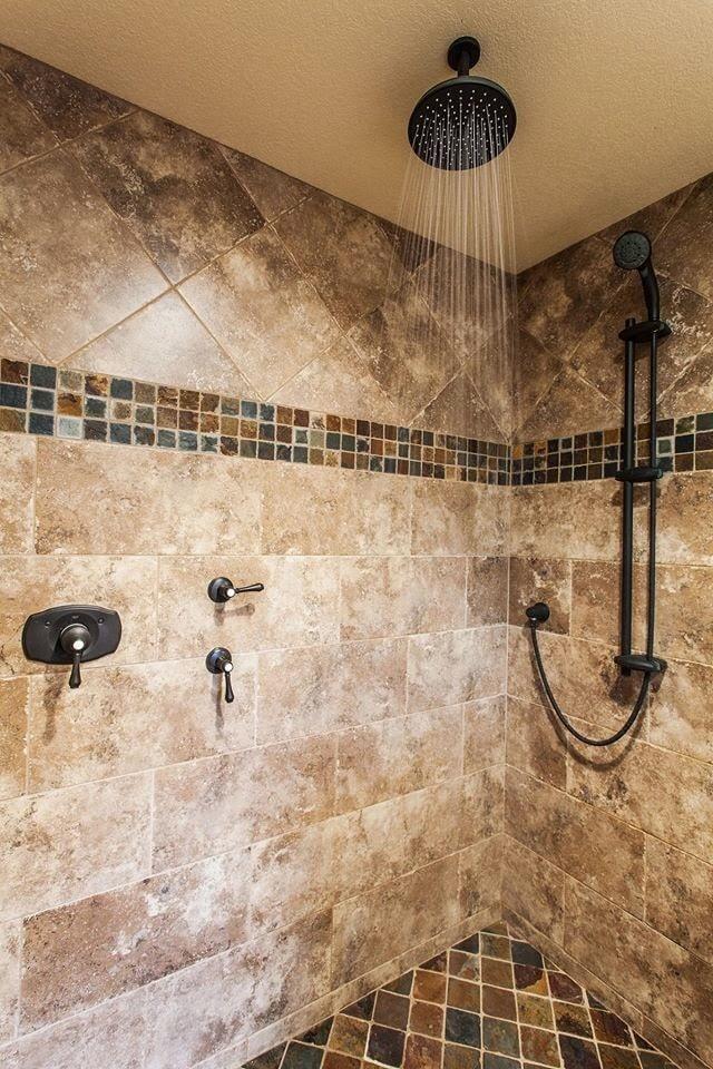 Modern shower wit custom tile accents in Flint, TX