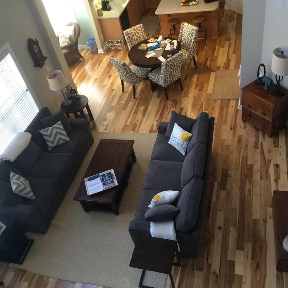 Living space with hardwood flooring in Davidson, NC from LITTLE Wood Flooring & Cabinetry
