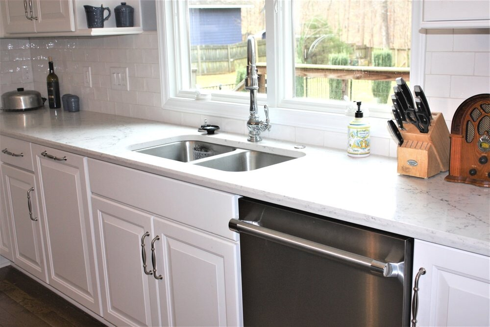 Beautiful white kitchen remodel in Mooresville, NC from LITTLE Wood Flooring & Cabinetry