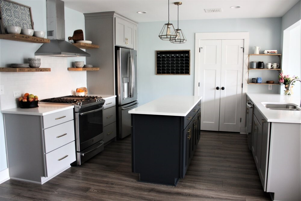 Wood look flooring in kitchen remodel in Lake Norman, NC from LITTLE Wood Flooring & Cabinetry