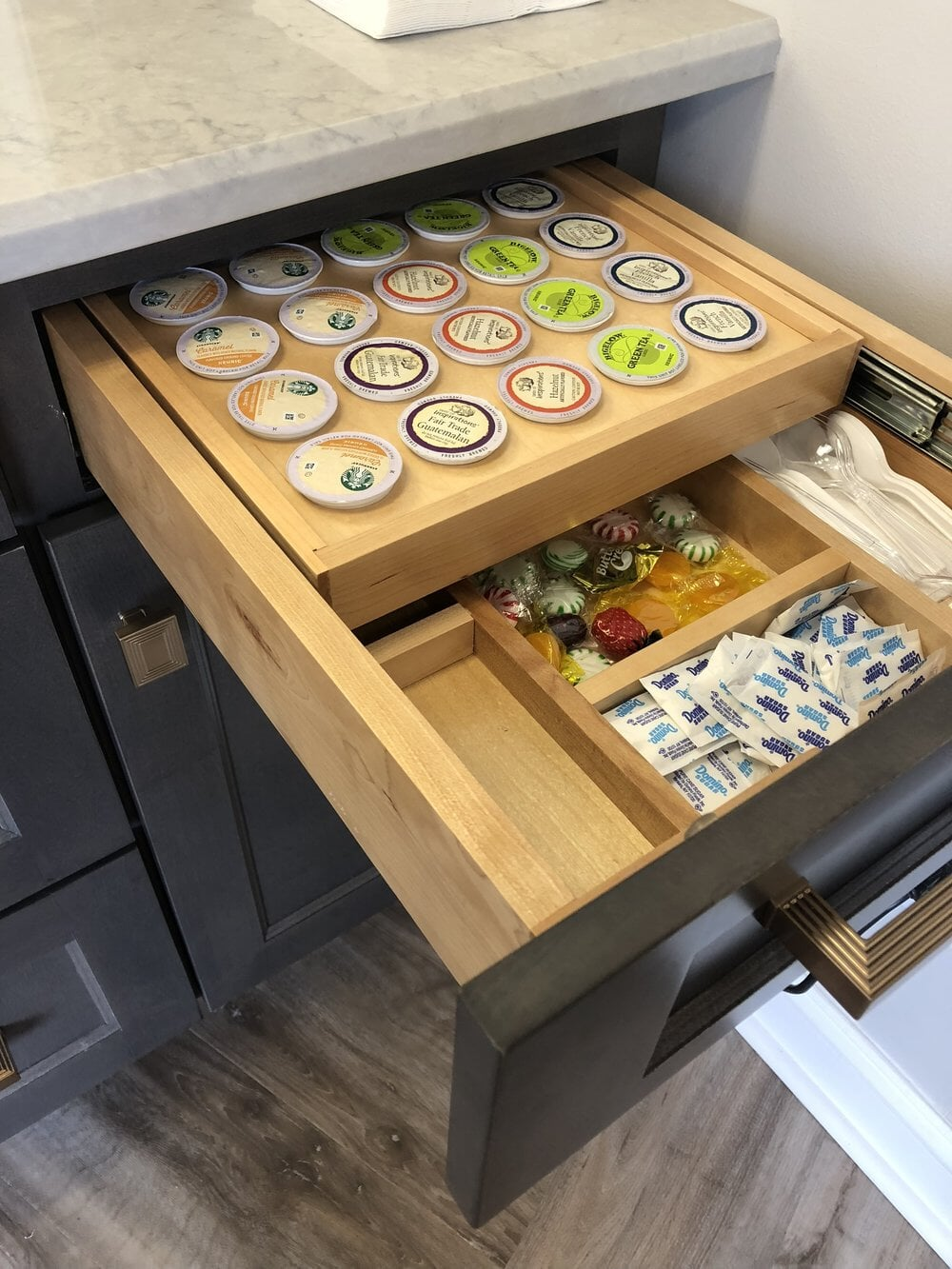 Custom drawers in kitchen cabinets in Lake Norman, NC from LITTLE Wood Flooring & Cabinetry