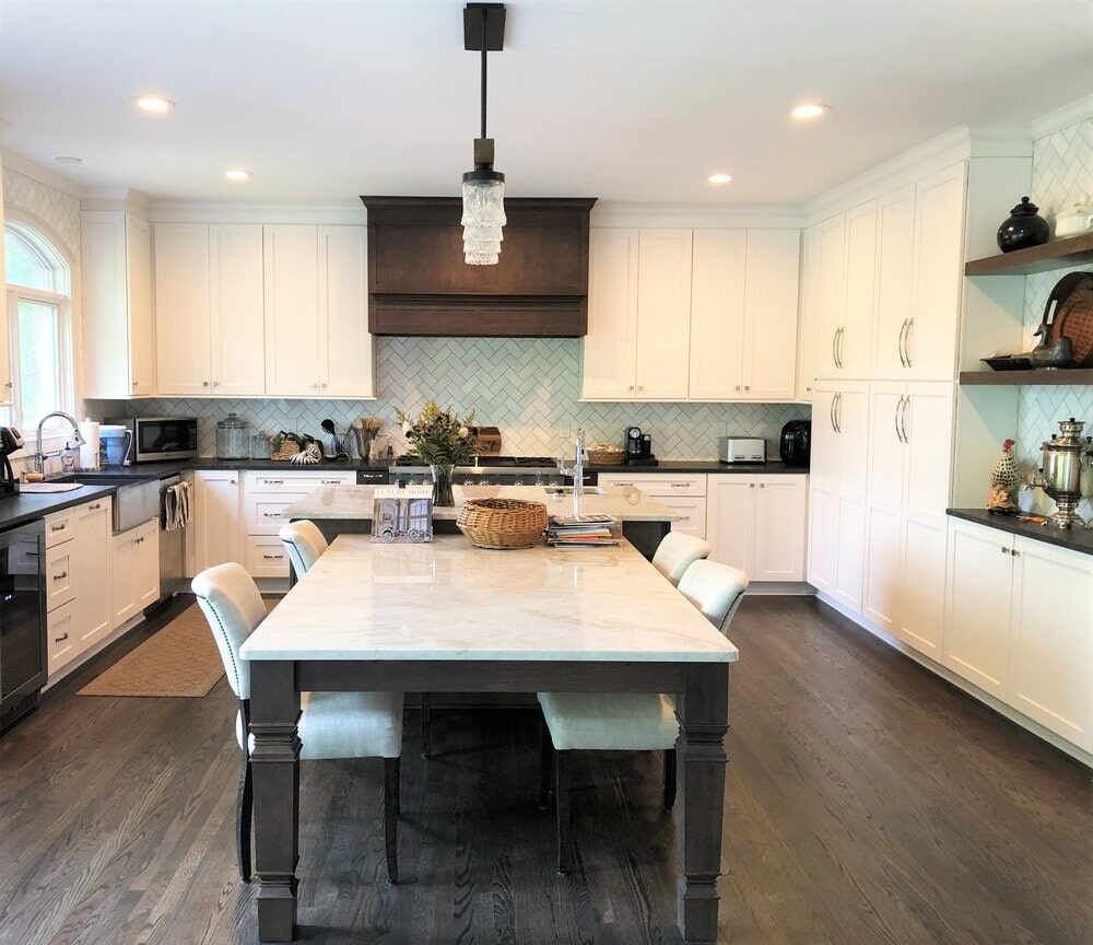 Custom kitchen with large dining space in Davidson, NC from LITTLE Wood Flooring & Cabinetry