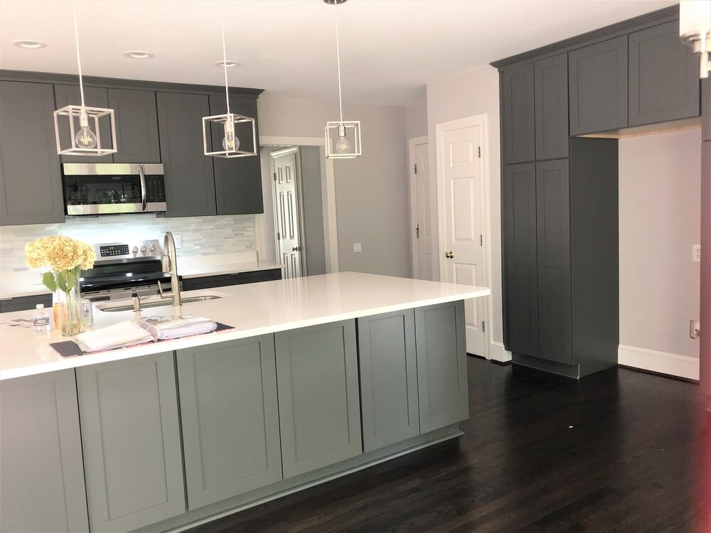 Custom modern kitchen renovation in Lake Norman, NC from LITTLE Wood Flooring & Cabinetry
