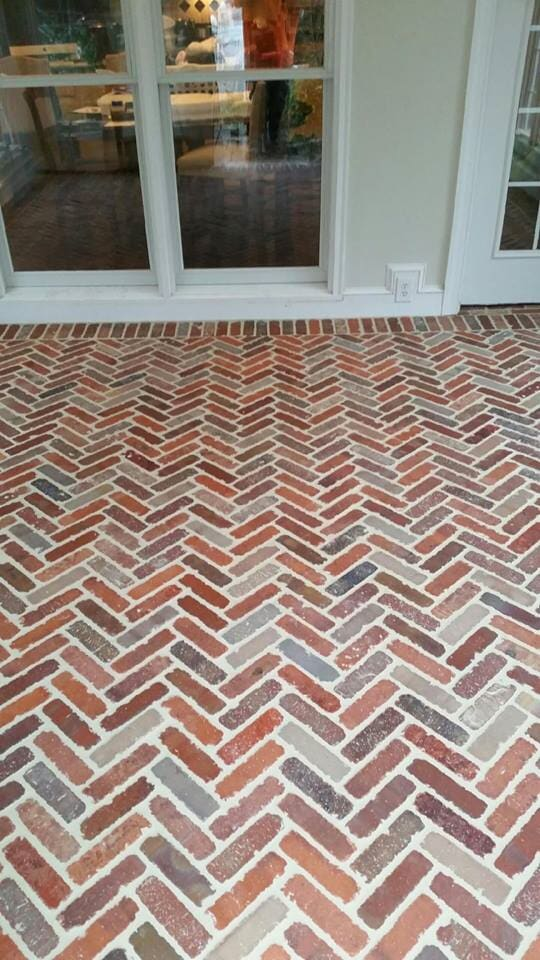 Herringbone brick paver patio in Mooresville, NC from LITTLE Wood Flooring & Cabinetry