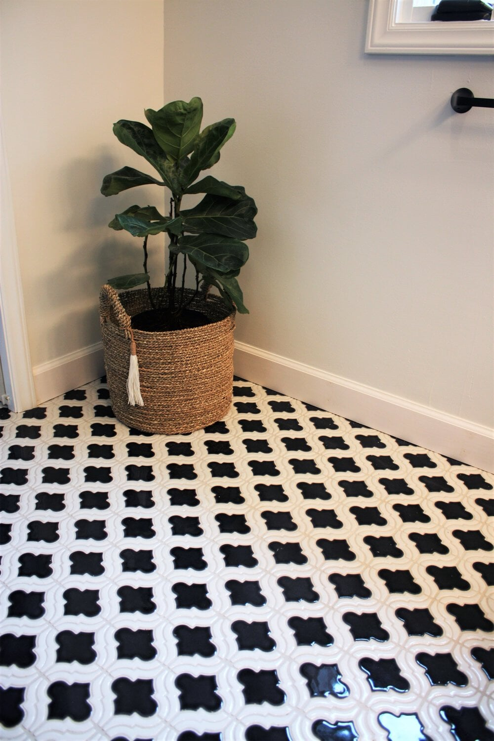 Custom black and white tile flooring in Davidson, NC from LITTLE Wood Flooring & Cabinetry