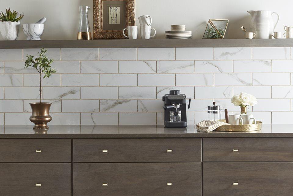 New white stone tile backsplash in Cornelius, NC from LITTLE Wood Flooring & Cabinetry
