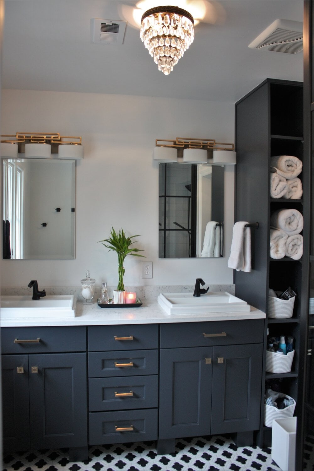 Beautiful double vanity installation in Huntersville, NC from LITTLE Wood Flooring & Cabinetry
