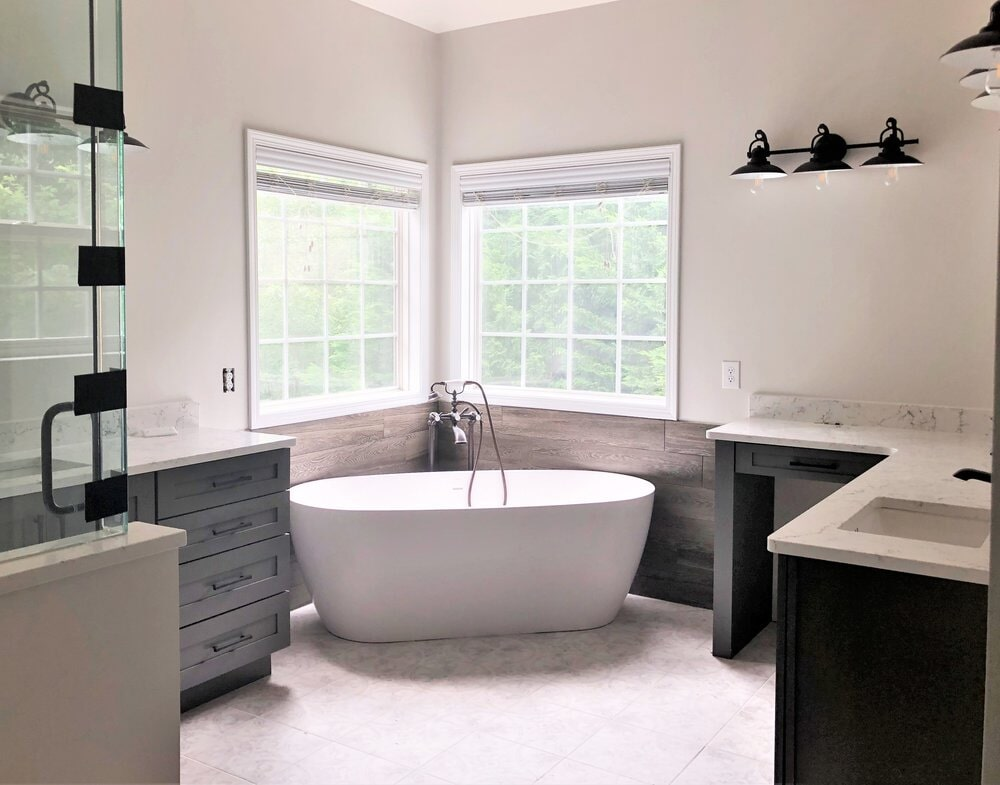 Bright bathroom renovation with modern design and soaking tub in Mooresville, NC