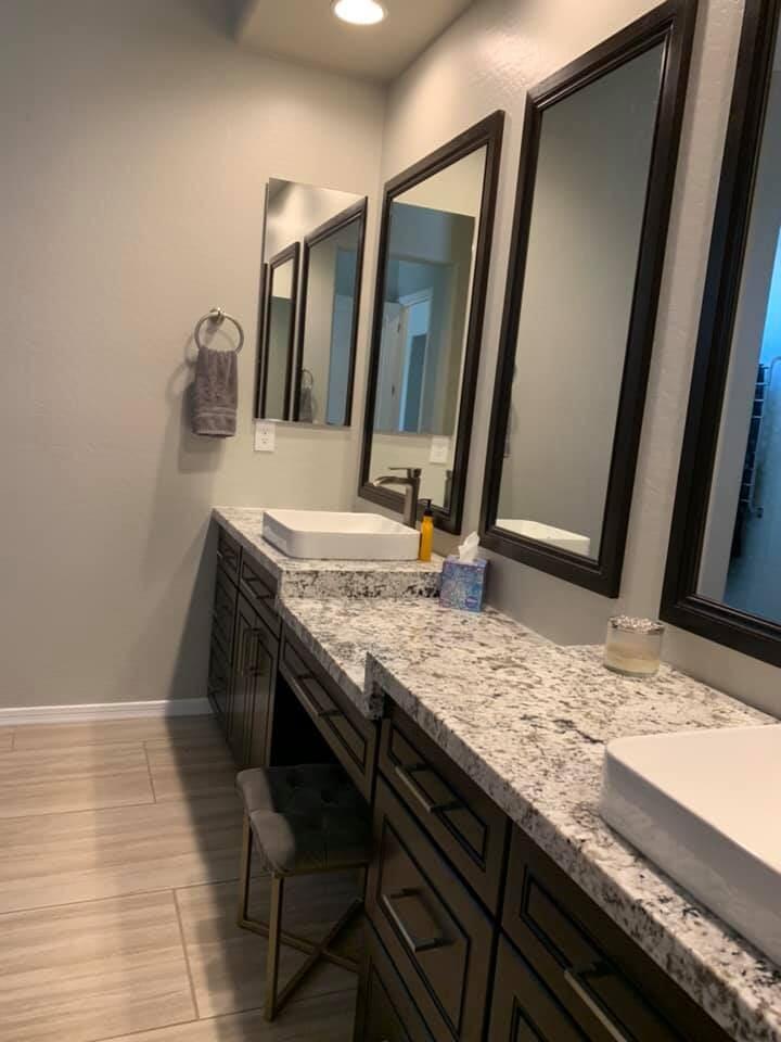 Custom bathroom vanity in Glendale, AZ from Cornerstone Flooring Brokers