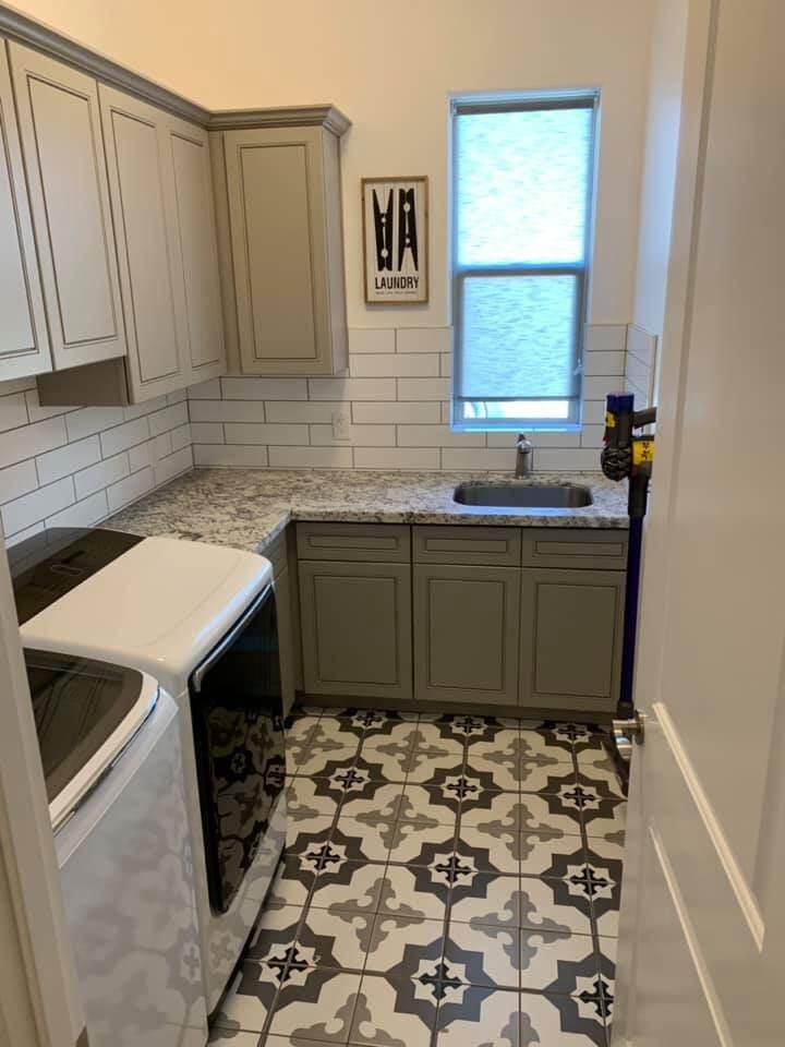 Beautiful mosaic bathroom tile flooring in Sun City, AZ from Cornerstone Flooring Brokers