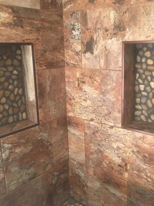 Beautiful multi tone shower tile installation in Peoria, AZ from Cornerstone Flooring Brokers