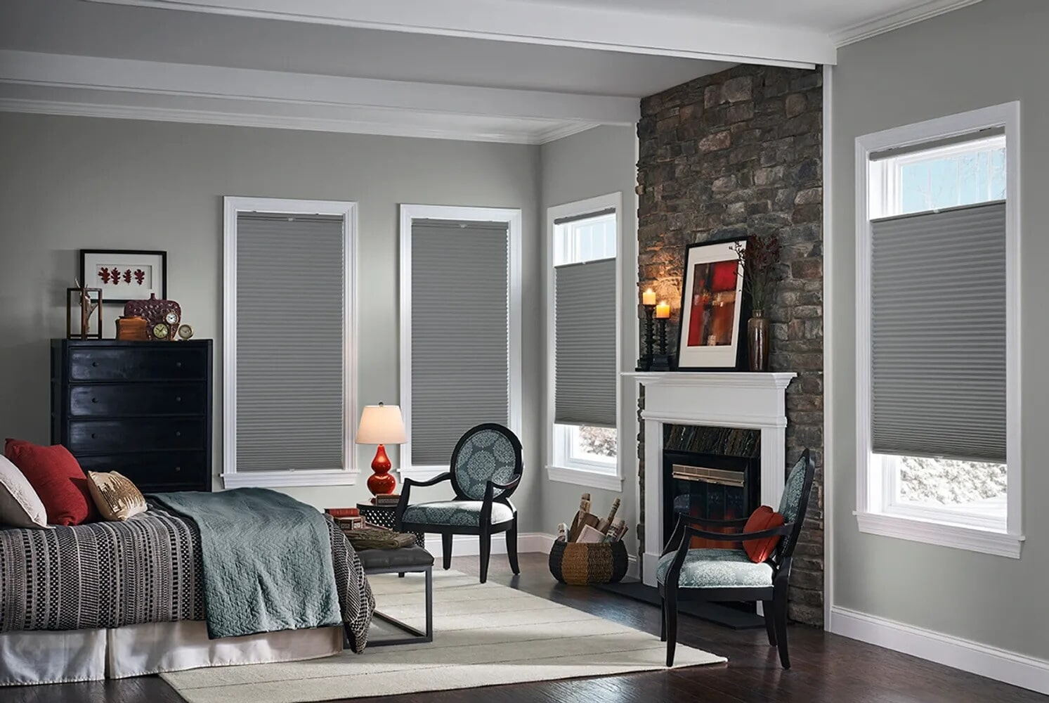 Gray bedroom shades in Bloomsburg, PA from Kissingers Floor & Wall