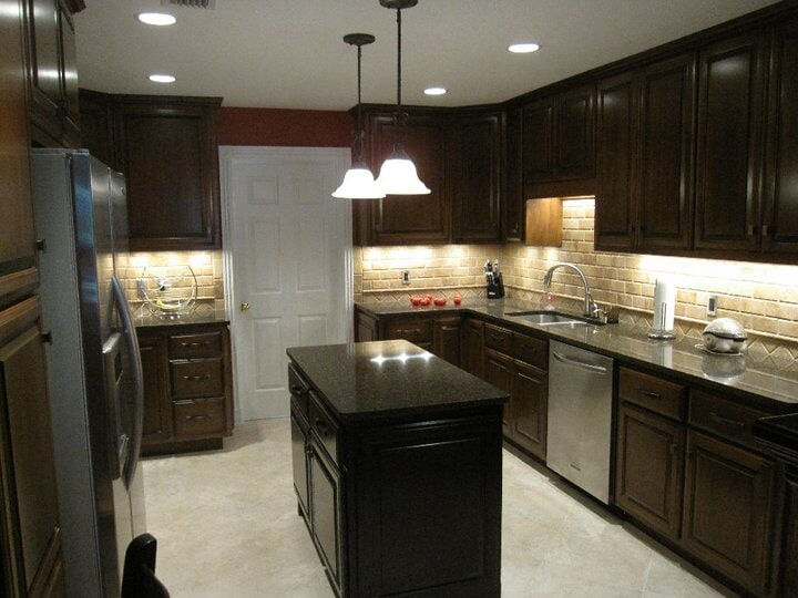 dark wood kitchen with tile from Paint Plus Flooring in McCracken, KY