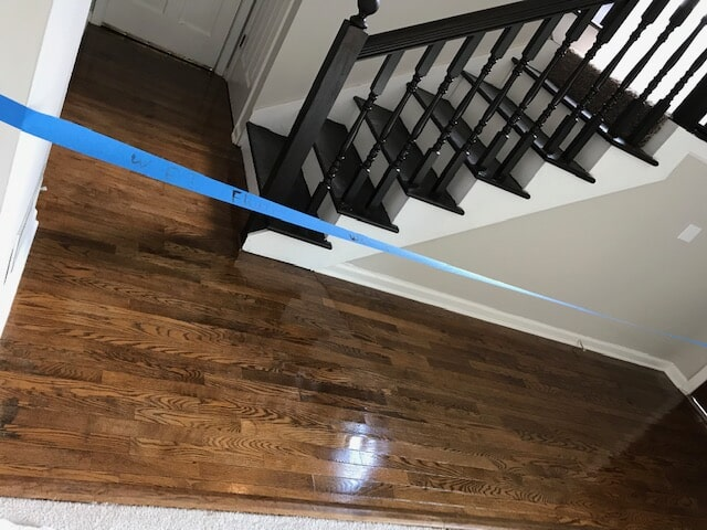 Gorgeous new stairway and refinished floors from Delta Carpet & Decor