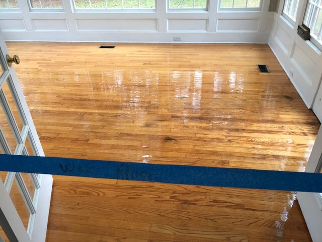 One of our hardwood refinishing services in progress in Lawrenceville, GA