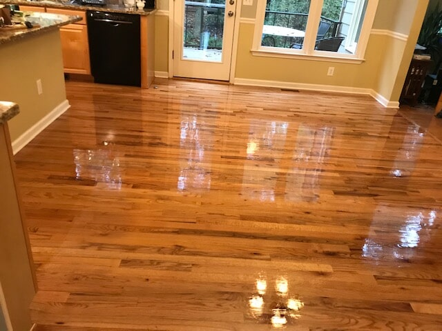 Beautiful shiny refinished hardwood in Atlanta, GA from Delta Carpet & Decor