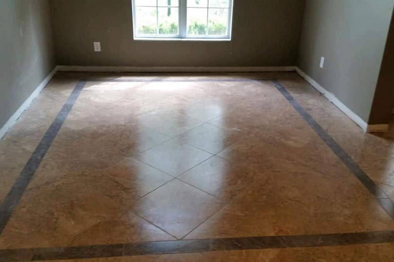 Custom tile installation with dark accents in Crystal Rivers, FL from LePage Carpet & Tile