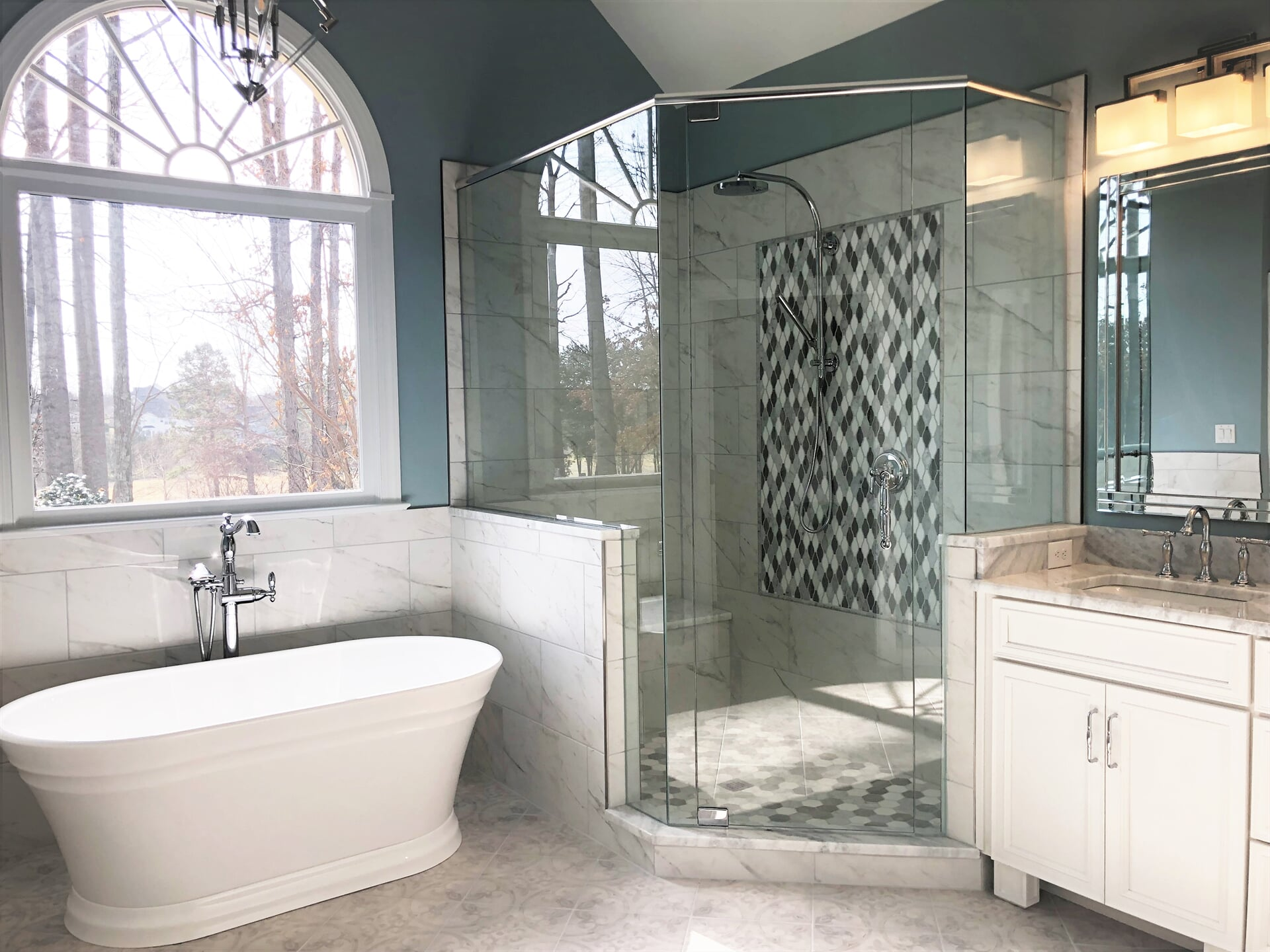 Custom bath and shower installation in Cornelius, NC from LITTLE Wood Flooring & Cabinetry