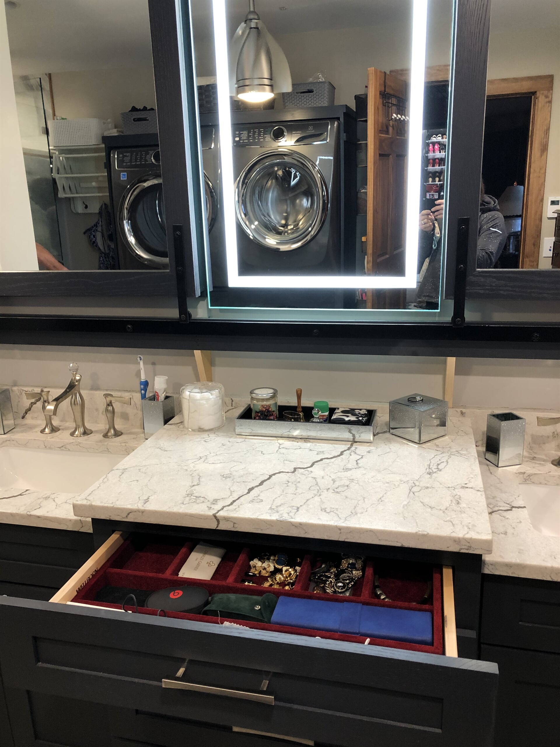 Custom vanity and mirror with built in lighting in Mooresville, NC from LITTLE Wood Flooring & Cabinetry