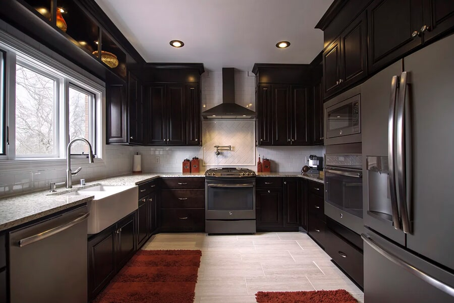 Dark cabinetry with light color flooring in Franklin, TN from Inspired Flooring & Design