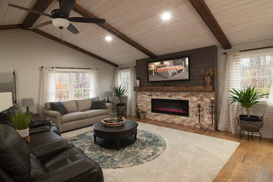 modern living space with exposed beams in Franklin, TN from Inspired Flooring & Design