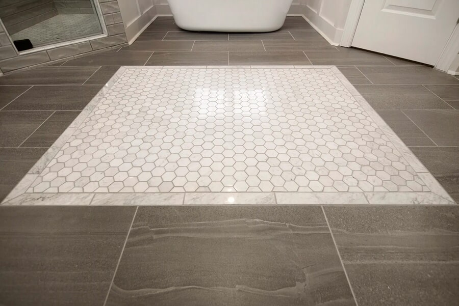 Hexagonal accent tile flooring piece in Thompson's Station, TN from Inspired Flooring & Design