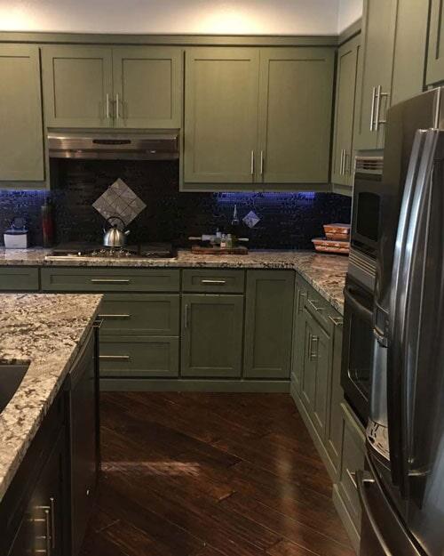Modern kitchen with waterproof wood look flooring in Ontario, CA