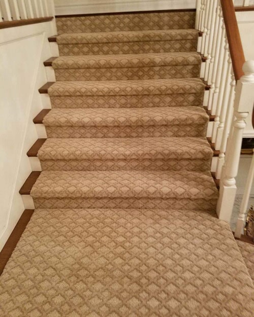 Patterned carpet stair runner in Upland, CA from Perry's Complete Floor