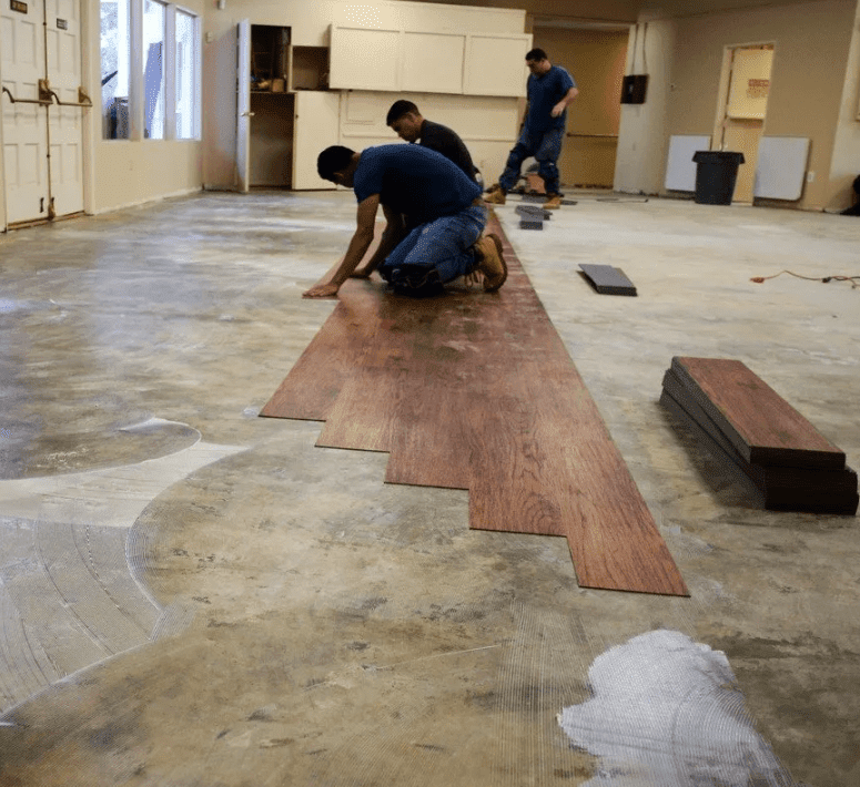 Our professional team at Stafford's Discount Carpets installing flooring in Loma Linda, CA