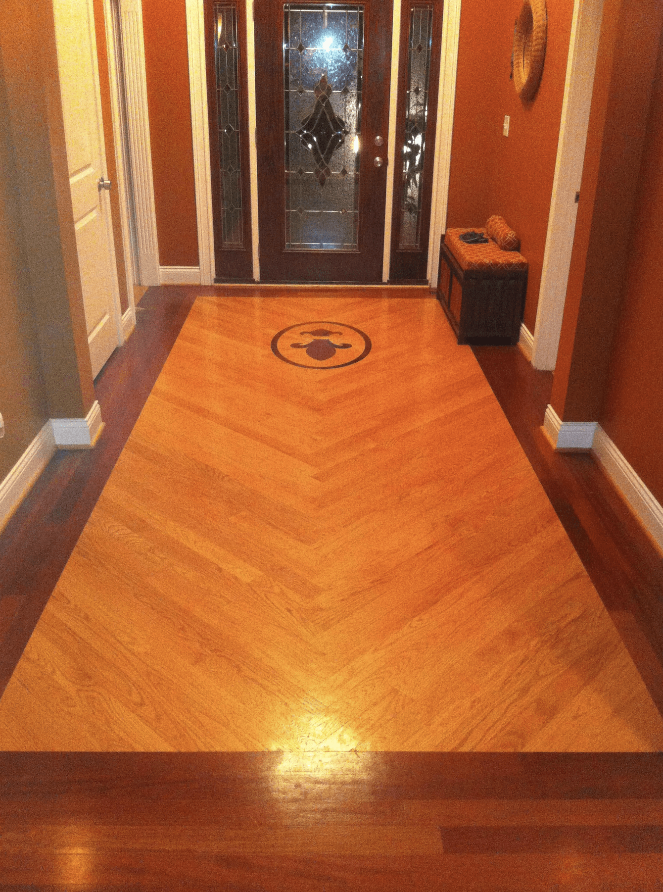 Custom design hardwood entryway in Jeffersontown, KY from Unique Flooring Solutions