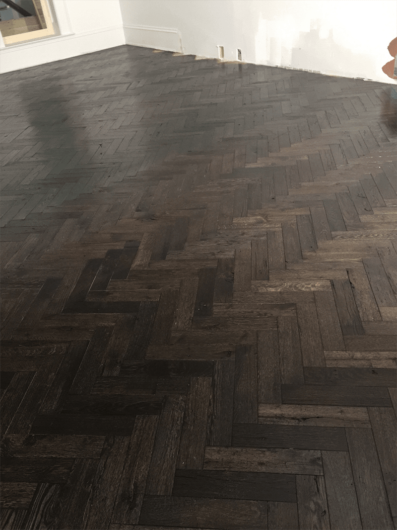 Natural herringbone hardwood flooring in Middletown, KY from Unique Flooring Solutions