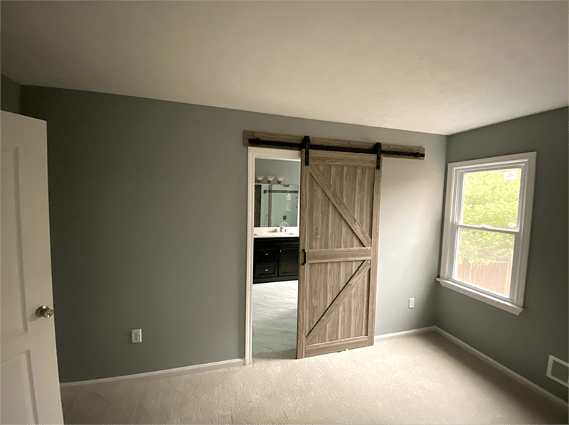 Sliding barn door installation in Jeffersontown, KY from Unique Flooring Solutions