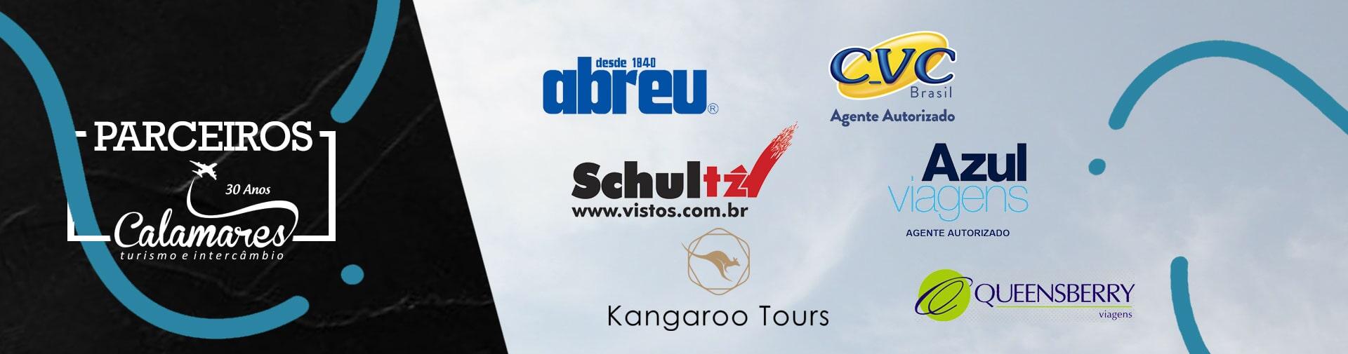 Nossos parceiros - Abreu, CVC, Schultz, Azul Viagens, Kangaroo Tours, Queensberry Viagens