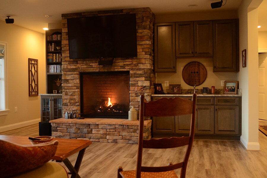 Luxury vinyl plank with fireplace