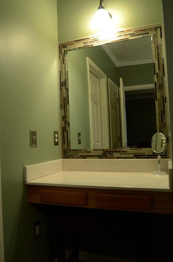 Glass tile mirror surround