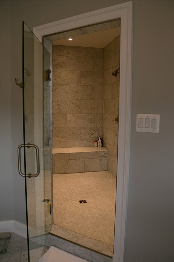 tile shower surround and flooring