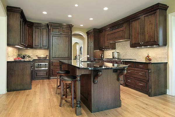 Beautiful dark cabinetry in Riverside County from Hailo Flooring