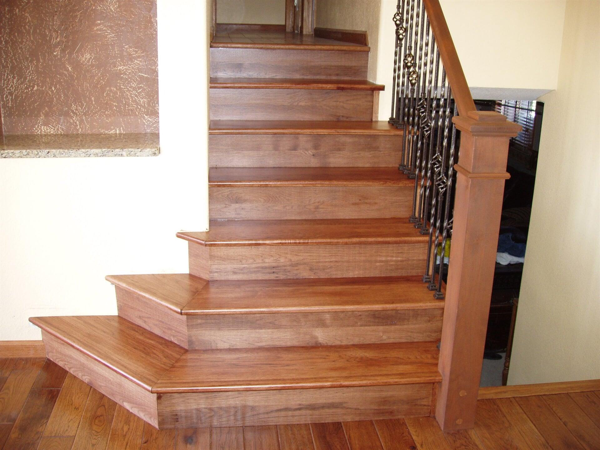 Hardwood stairs at Schmidt Custom Floors in Windsor, CO