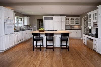 Oak Kitchen White Cabinets at Schmidt Custom Floors in Estes Park, CO