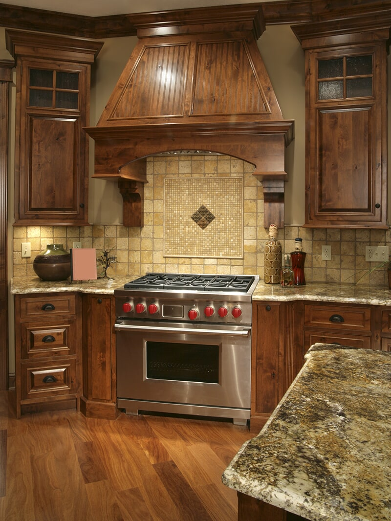 Wide plank kitchen floor at Schmidt Custom Floors in Estes Park, CO